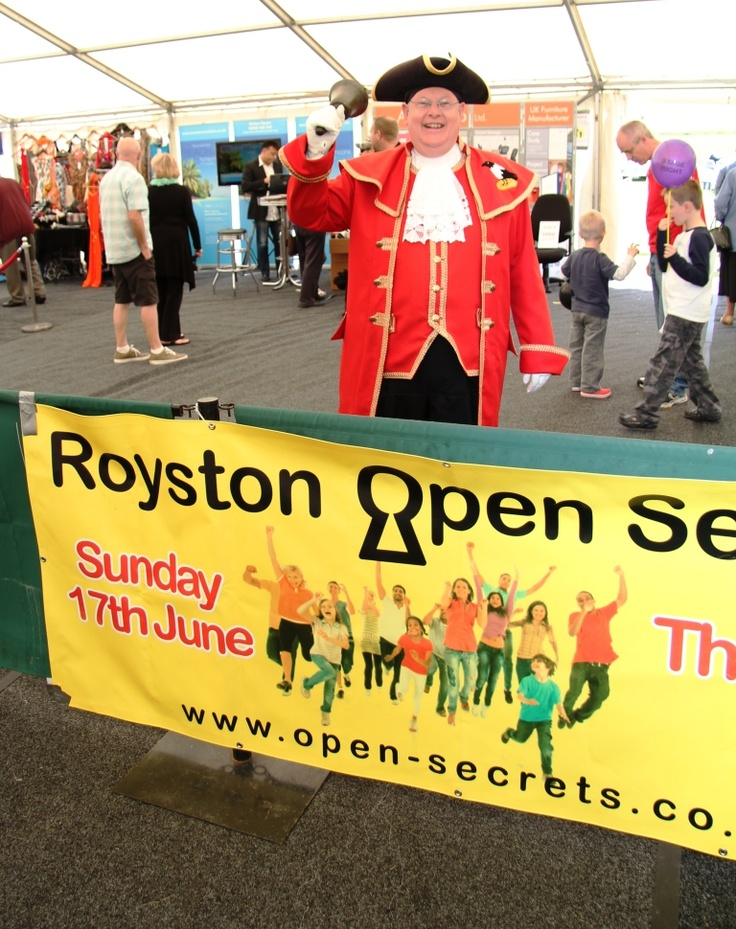 Royston Town Crier at Open Secrets. (Photo by John Moore).