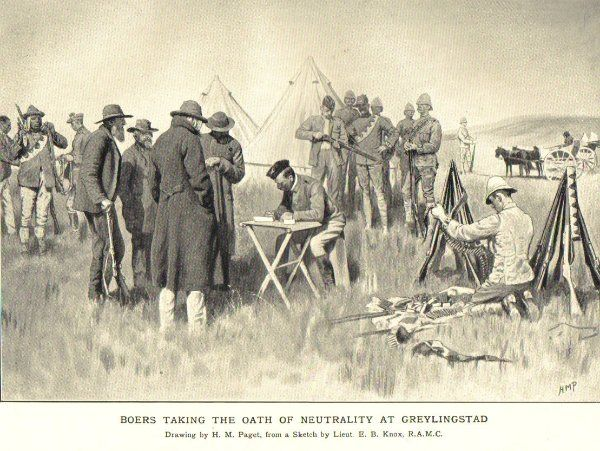 Boer War -- Farmers in the Cape being forced to take oath of neutrality