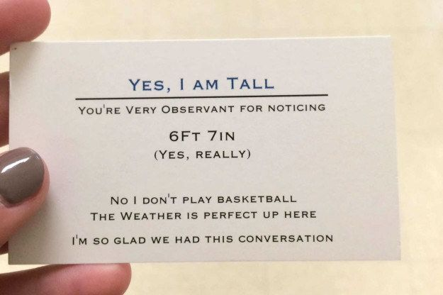 The tall teen who had special biz cards made so that he could stop hearing the saaaaame questions over and over again. | 19 Teens Who Did The Most In 2016