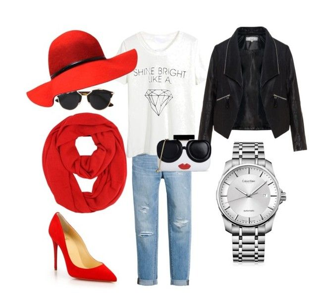 """Red shoes"" by oana-grigorie on Polyvore featuring White House Black Market, Christian Louboutin, WithChic, Zizzi, Christian Dior, Alice + Olivia and Calvin Klein"