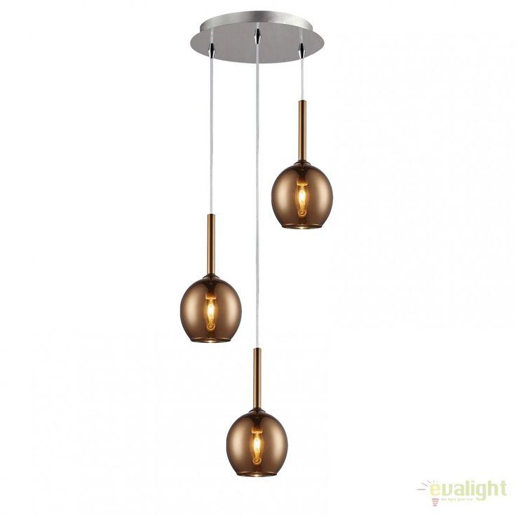Lustra cu 3 pendule design modern MONIC MD1629-3B COPPER - Corpuri de iluminat, lustre, aplice
