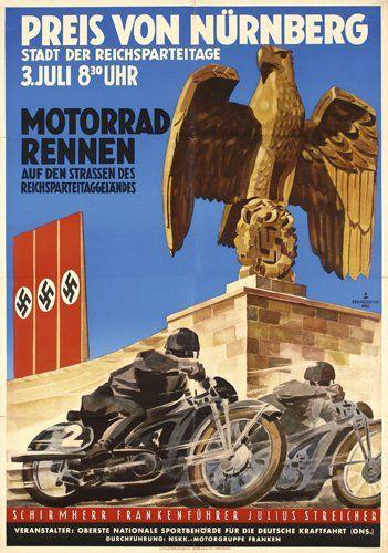 GERMAN WWII Motorcycle race poster in Nuremberg in 1933.//FEB16