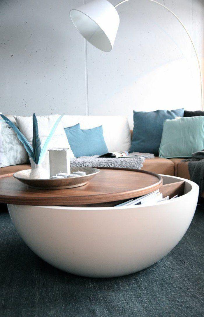 table basse avec rangement, table basse relevable ikea en forme ronde