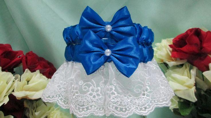 Подвязка кружевная с синими бантиками.Свадебные атрибуты, аксессуары от Soprun studio