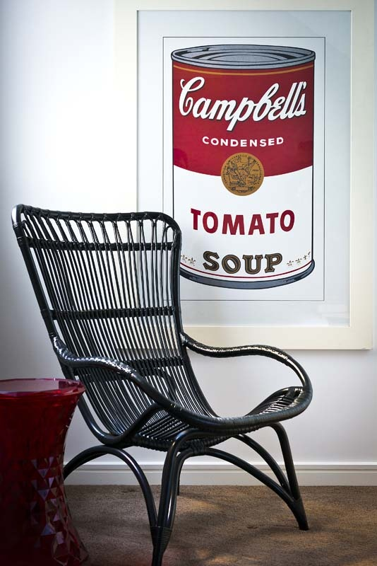 Advantage Property Styling, Art, Poster, Andy Warhol Print, Reading Corner, Black Cane Chair, Black & Red, Red Jewel Stool, Campbell's Tomato Soup, Interior Decoration, Styling, Interior Design