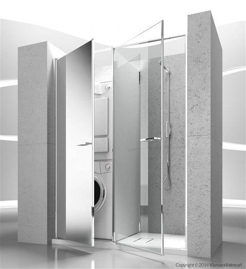 Twin collection by Vismaravetro #spazioutile Modello T11 Apertura battente, Installazione in NICCHIA