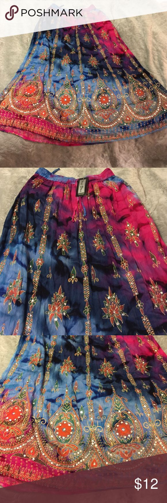Beautiful Indian Skirt This New Indian Skirt is a beautiful and full of color! Beautiful beading  and lots of detail! Skirts