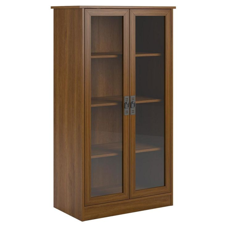 Quinton Point Glass Door Bookcase   Cherry (Red)   Ameriwood Home