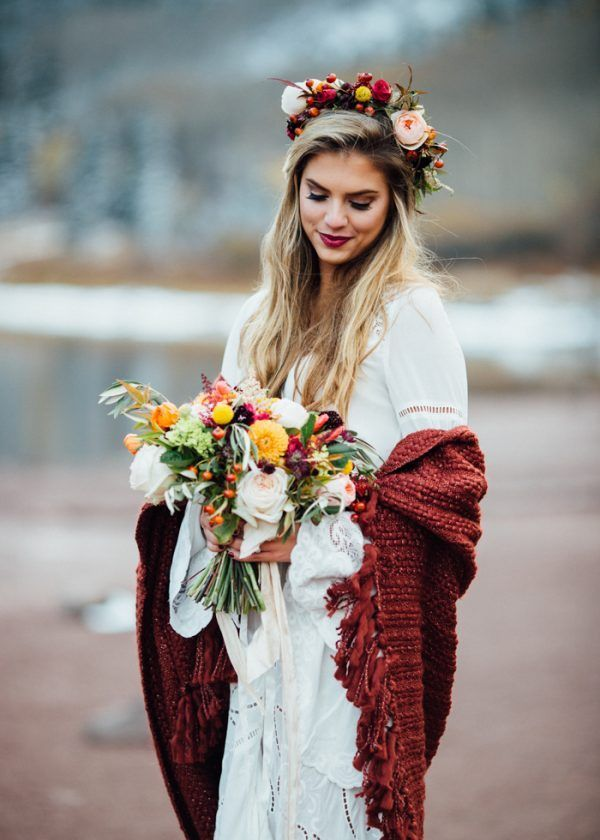 Free People wedding dress from this boho winter elopement  photo by Cat Mayer Studio