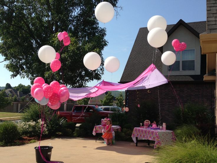 Floating Canopy - Vinyl Table Cloths and very large Helium Balloons