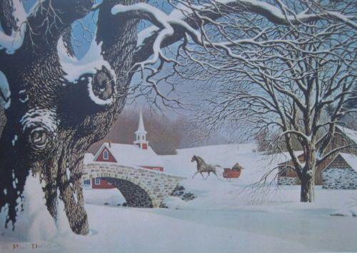 vintage look Winter Horse Sleigh Stone Bridge by Paul Detlefsen