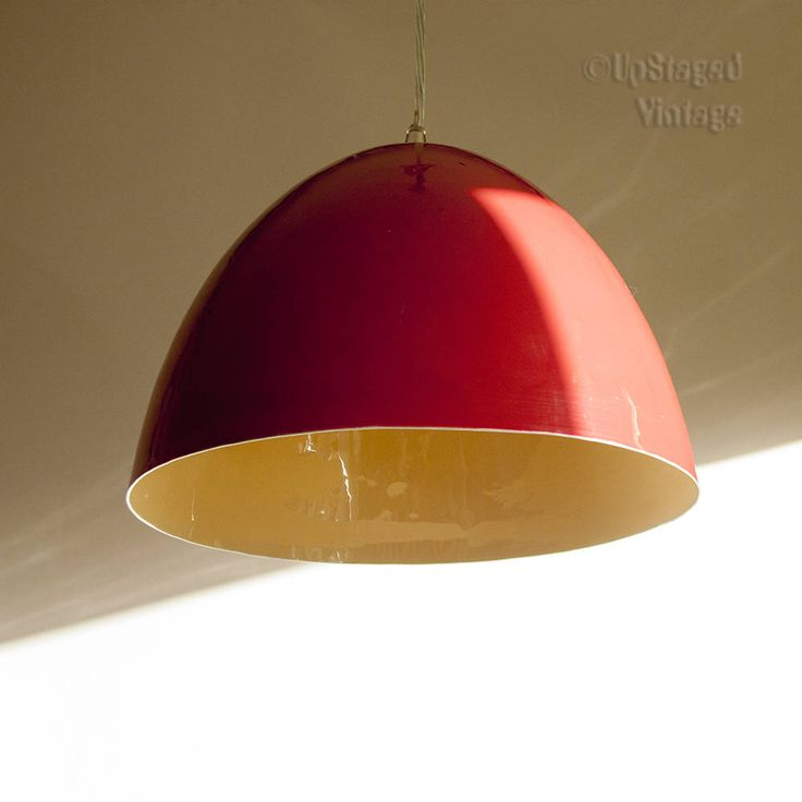 Vintage Retro Mid-Century Red Enamelled Scandinavian Pendant Light Fitting by UpStagedVintage on Etsy