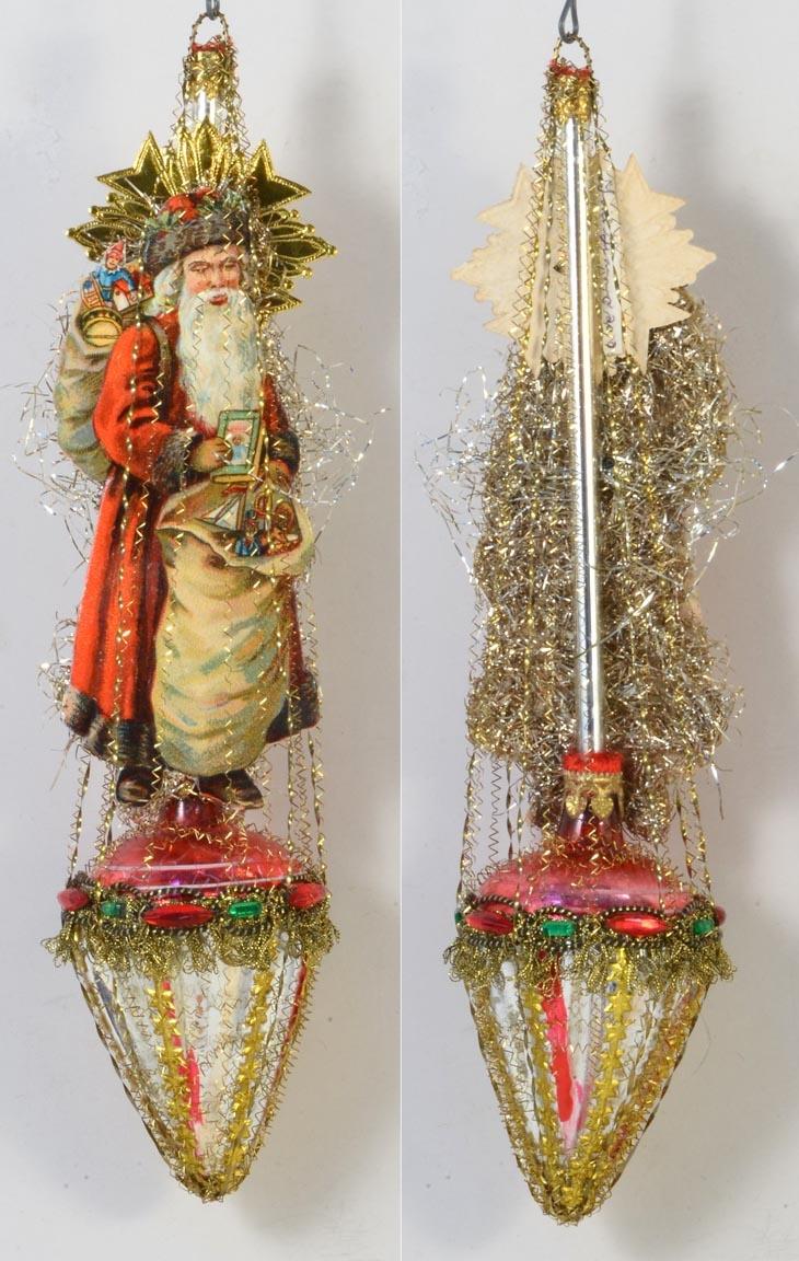 Sputnik christmas ornaments - Vintage Glass And Tinsel Santa Ornament