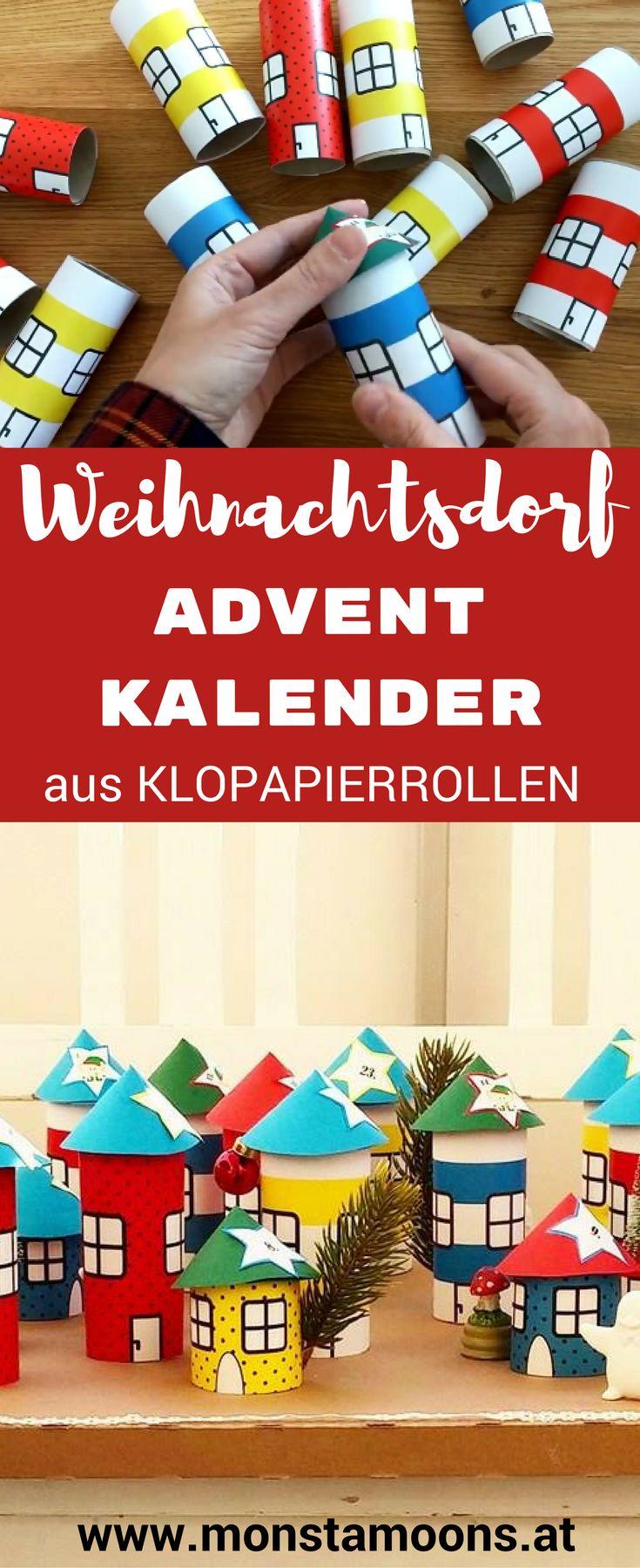 Weihnachtsdorf basteln, DIY Adventkalender, Adventkalender, Basteln mit Klopapierrollen, tube crafts, Christams village