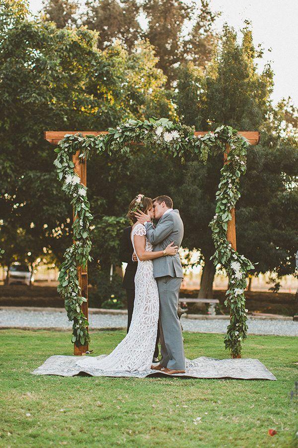 outdoor wedding ceremony - photo by Gantes.Co http://ruffledblog.com/handcrafted-orchard-ranch-wedding