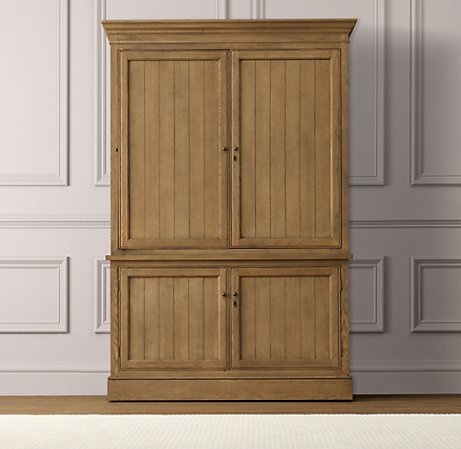 """unobstructed view  Armoire holds a TV up to 42"""" and has cord cutouts for wire management  Lower cabinet opens to reveal a single adjustable shelf  Includes adjustable nylon levelers on feet  Finished with side molding and decorative keyholes  Antique brass hardware  Assembly will be provided upon delivery"""
