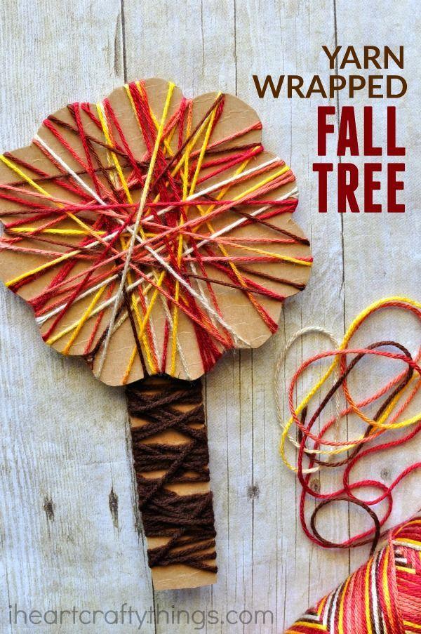 delightful Fall Preschool Craft Part - 17: Yarn Wrapped Fall Tree Craft