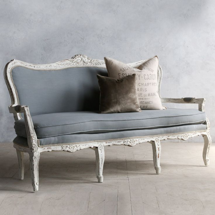 Eloquence One of a Kind Vintage Settee Louis XV Bright Weathered White @Layla Grayce