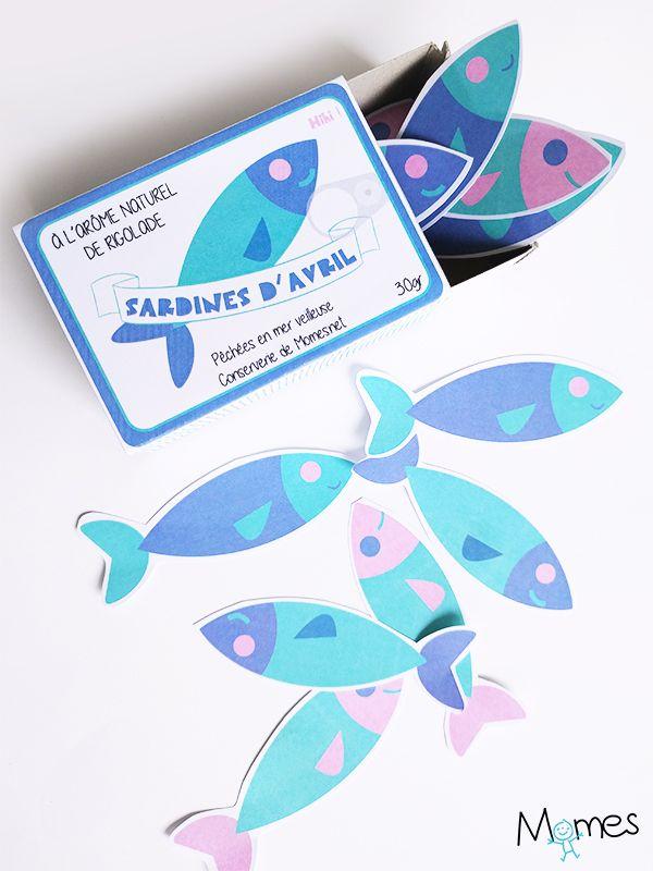 Une petite boîte de sardines qui renferme plein de petits poissons d'avril à accrocher au dos des gens le 1er avril ! Imprimez le gabarit et c'est parti pour la rigolade !