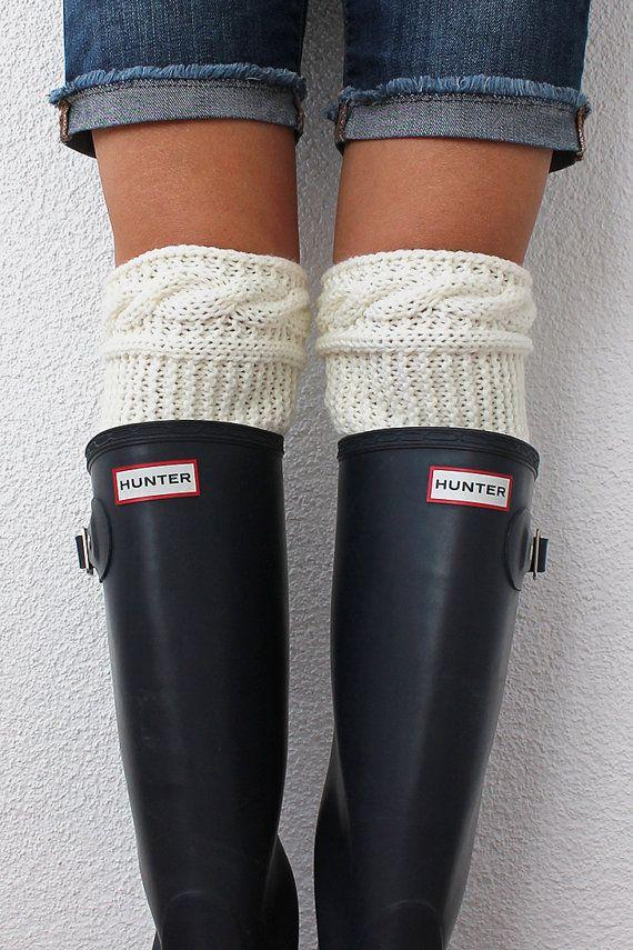 Boot Socks Knitted Boot Cuff Socks Leg Warmer by SeaAsparagus