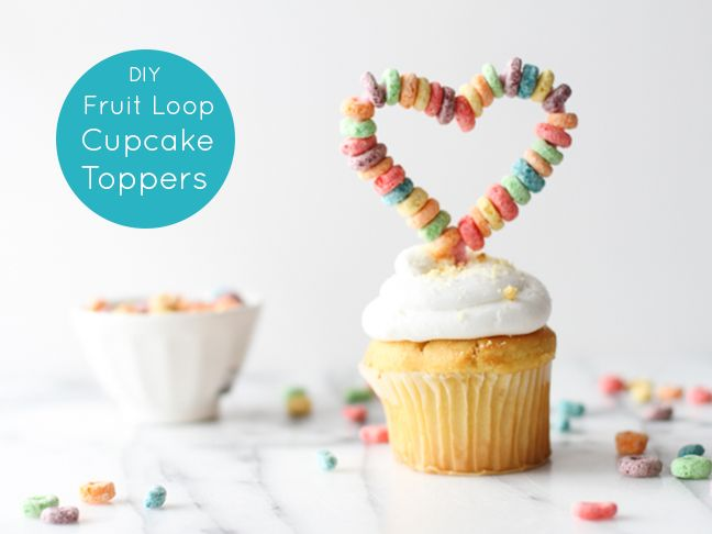 Make This cupcake topper for Valentine's Day - fruitloops on a pipe cleaner! :D