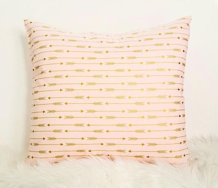 Decorative Pillow Cover, Nursery Pillow, Gold Arrows, Gold and Pink, Throw Pillow Cover, Girls Room Decor