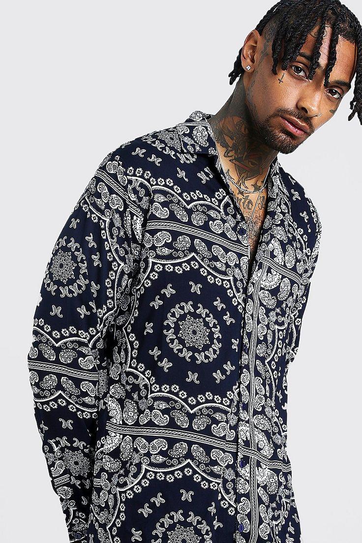 Bandana print long sleeve revere shirt boohoo bandana