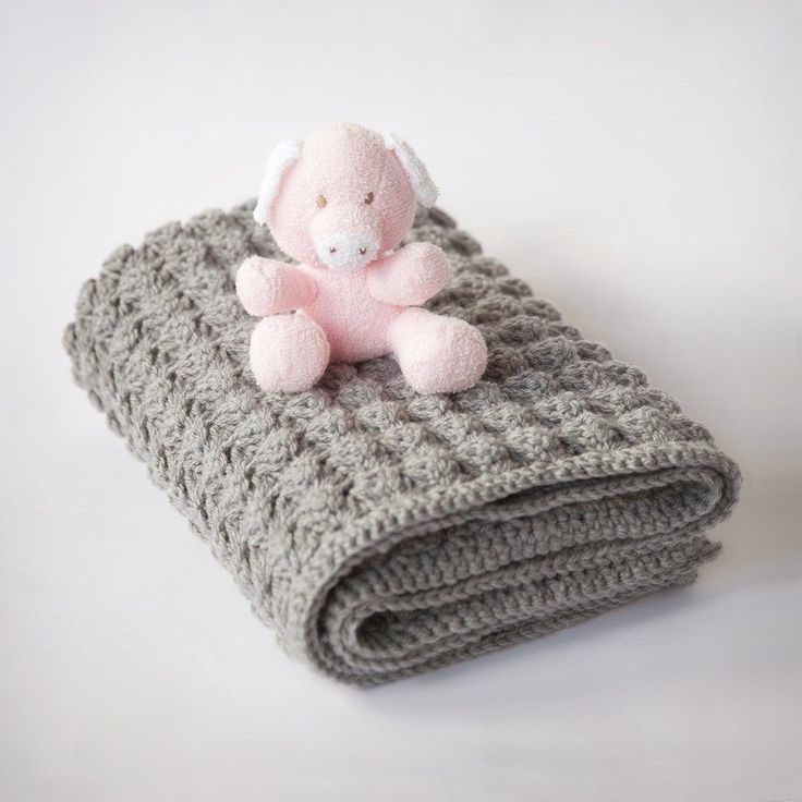 Free Baby Blanket Crochet Pattern - grey, trim in pink or purple for girl, blue for boy