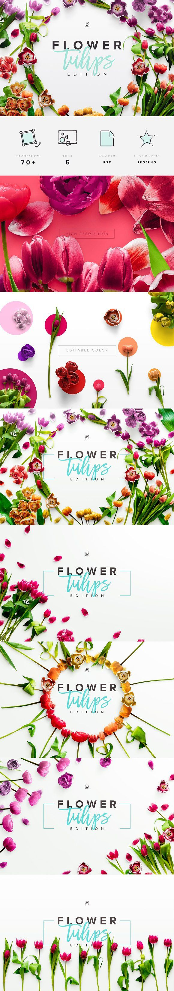 Flower Tulips Edition - Custom Scene - Product Mockups The second edition of our flower series features the quintessential spring flower, the Tulip! Add natural beauty to your product styling and create stunning content for your social media feed.
