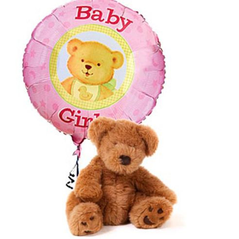 It's A Girl Bear & Balloon! Celebrate the birth of a beautiful girl with a delivery of a cute teddy bear and new baby balloons.