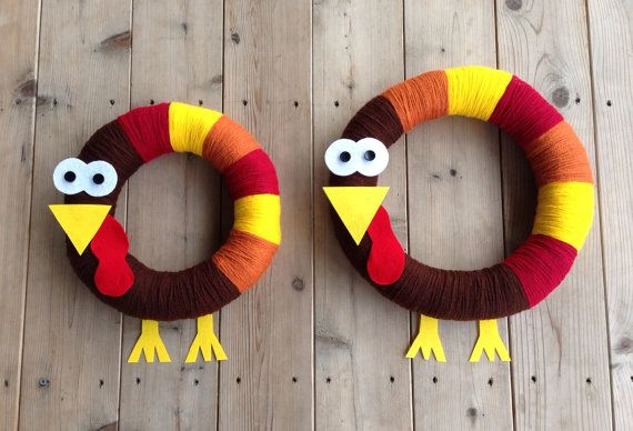 Fall Autumn Thanksgiving Turkey Yarn Wreath