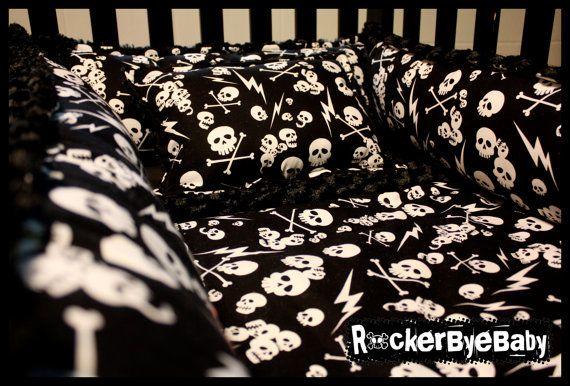 CUSTOM punk baby 4 piece crib bedding set fabric by RockerByeBaby