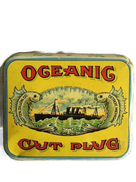 Vintage+blikken+doos+met+deksel-oceanische+gesneden+door+CocoRaes