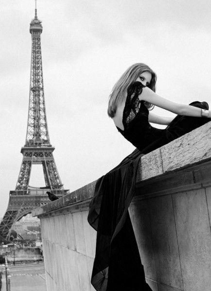 paris in pretty long black dress