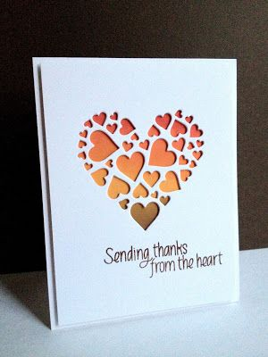 handmade card from I'm in Haven: Hearts Aren't Just for Valentine's Day... negarive die cut heart shape made with lots of little hearts (Impression Obsession) ... backed with sponged colors of Fall ... heart of the timp is solid color ... luv this card!!