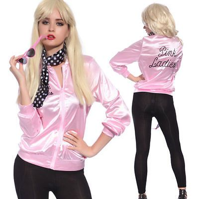 >> Click to Buy << Halloween Pink Lady Retro trench coat Jacket Womens Fancy Dress Grease Costume cosplay Cheerleader Satin 50's Frenchie Rizzo   #Affiliate