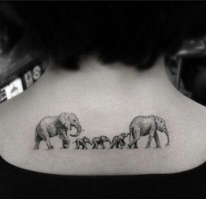 PERFECT! This is what I want for my tattoo!!! @ big elephants for Matt and I and 2 baby elphants for Mateo and Reef!!
