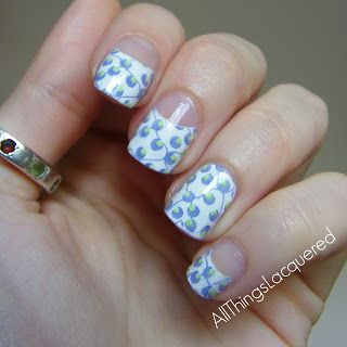 All Things Lacquered: Patterned half moon manicure
