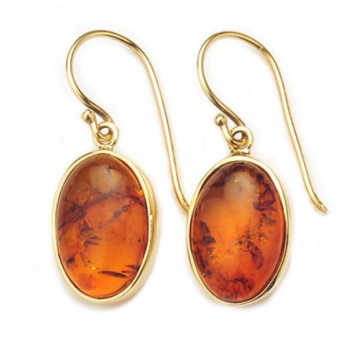 9ct Large Amber Earring. gerrim.com