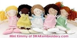 The In-the-Hoop Mini-Kimmy Doll | Featured Products | Machine Embroidery Designs | SWAKembroidery.com