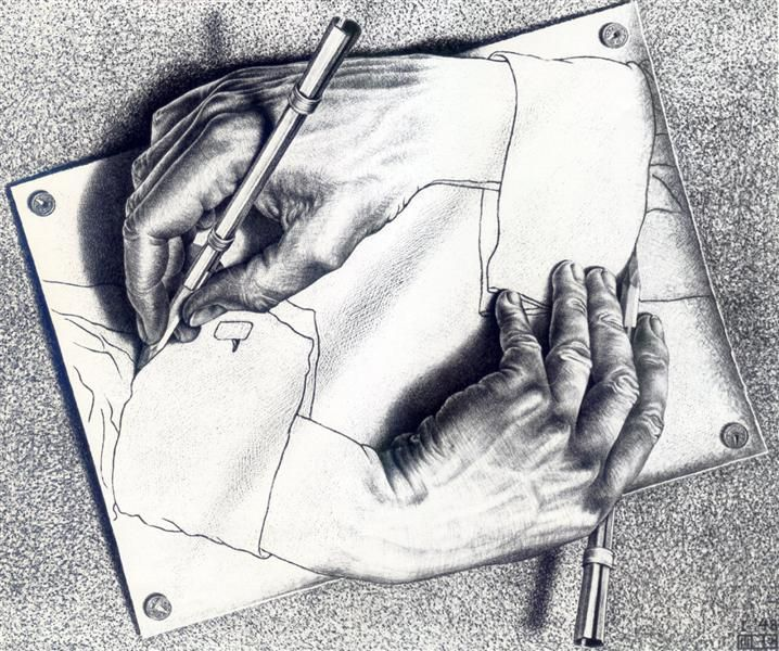 What is the paradox of the impossible painting? (Drawing Hands, 1948 by M.C Escher. Public domain via WikiArt.org) #paradox #philosophy #art