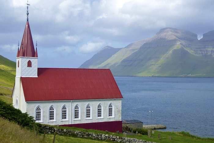 Fjordside church at Husar on Kalsoy
