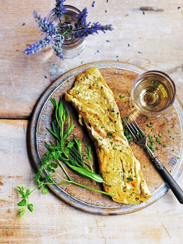 Omlette Fines Herbes - get recipe here: http://www.dailymail.co.uk/femail/food/article-3681111/Elizabeth-David-s-French-lessons-perfect-omelette.html