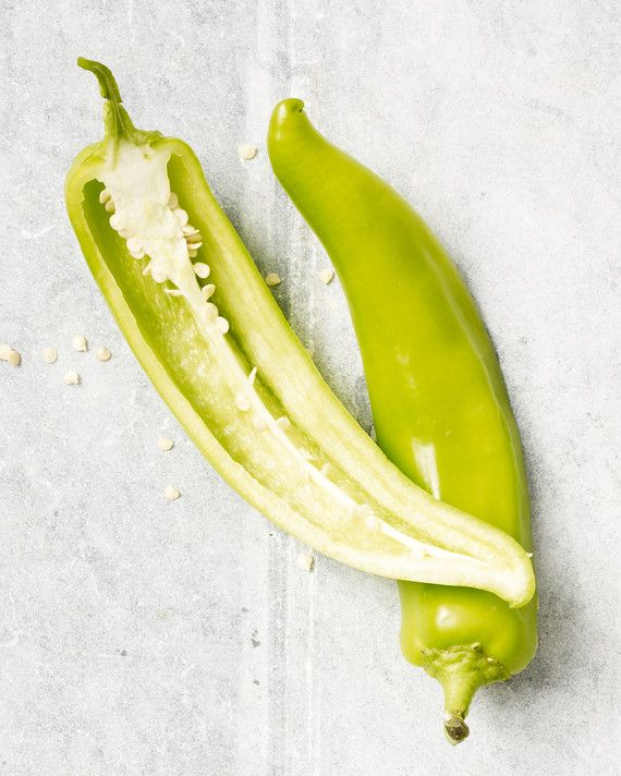 This is a New Mexican-type cultivar also known as the California or long green chile. The green (immature) pod is roasted and used in chiles rellenos, sauces, and the stew simply known as a bowl of green.    Try Anaheim chiles in Pepper-Jack Pork Burgers or Crispy Pork-Stuffed Anaheim Chiles.