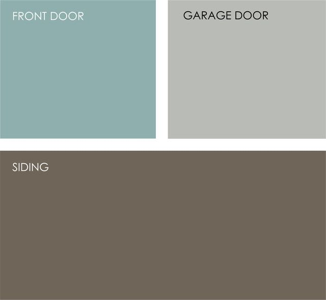 A light watery blue would also be a nice contrast to the dark siding color. Turquoise has been a trendy house accent color of late, but I think it's a new classic that would work well on this home.Clockwise from top left (all from Sherwin-Williams): Drizzle SW6479, Argos SW7065 and Griffin SW7026. by Jennifer Ott