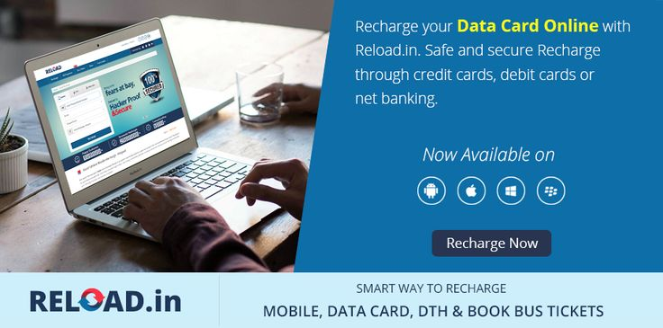 Recharge your #DataCard Online with Reload.in. Safe and secure #Recharge through credit cards, debit cards or net banking. Visit @ www.reload.in/datacard/
