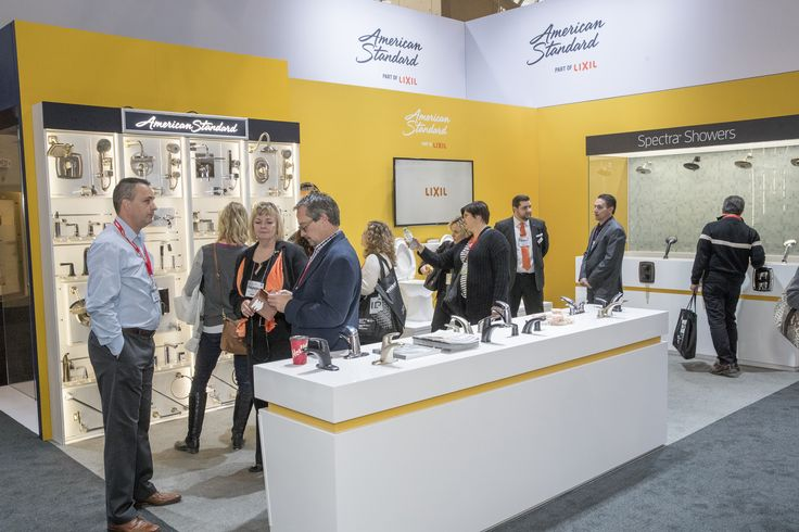 Plenty of visitors through the LIXIL Brands booth at IDS Toronto. Seen here are a few reps and interested viewers learning about American Standard products.