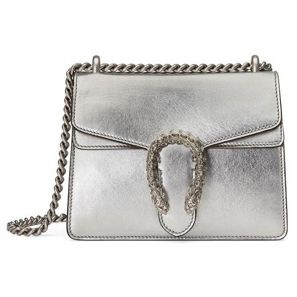 Women's Gucci Mini Dionysus Metallic Leather Shoulder Bag (€1.595) ❤ liked on Polyvore featuring bags, handbags, shoulder bags, gucci, bolsa, genuine leather handbags, mini shoulder bag, shoulder handbags, gucci shoulder bag and metallic leather handbags