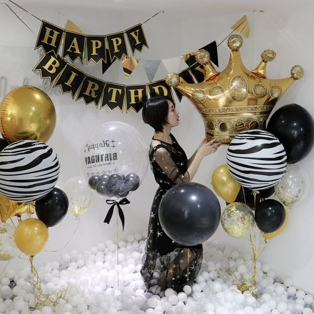 Big Gold Crown Balloons Wedding Happy Birthday Large Foil Balloons