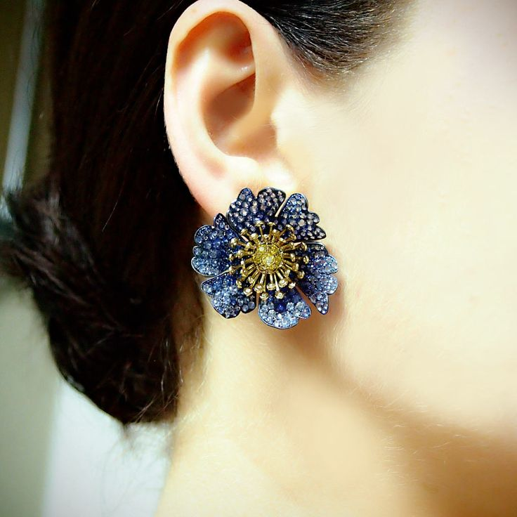 """Hothouse"" Sapphire Diamond Flower Earrings - Plukka - Shop Fine Jewelry Online"